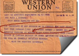 1944 Western Union Missing In Action Feb 23 Telegram