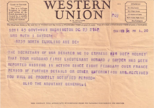 1944 Western Union Missing In Action Feb 23 Telegram2