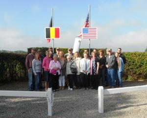Relatives of B-17 Susan Ruth crew members pilot Howard Snyder, co-pilot George Eike, bombardier Richard Daniels, and ball turret gunner, Louis Colwart.